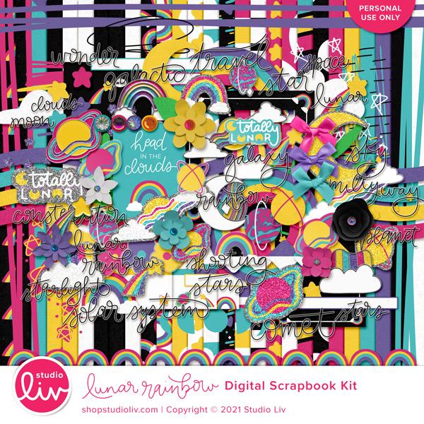 Lunar Rainbow Digital Scrapbook Kit preview