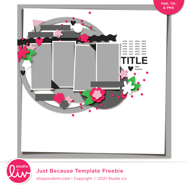 Just Because Template Freebie preview