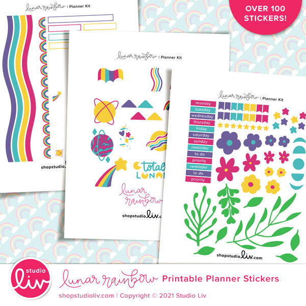Lunar Rainbow Printable Planner Stickers preview