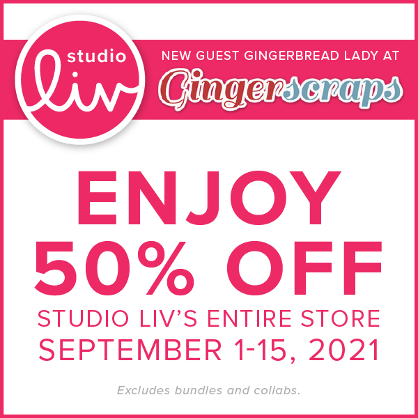Studio Liv new guest GingerBread Lady at GingerScraps. Enjoy 50% off Studio Liv's entire store September 1-15, 2021. Bundles and collabs excluded.
