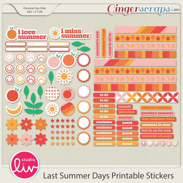 Last Summer Days Printable Stickers preview
